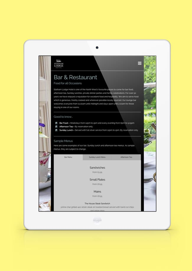 Statham Lodge Hotel Website ipad