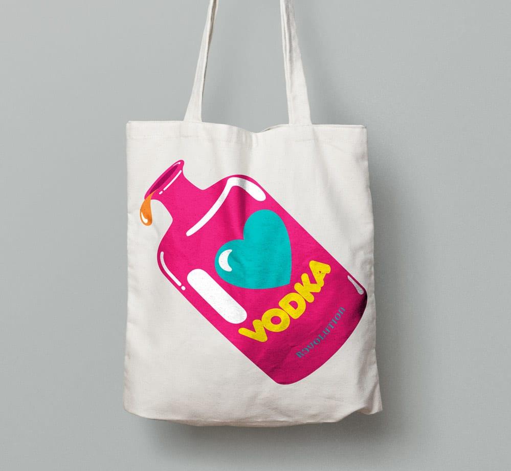branding love vodka logo bag