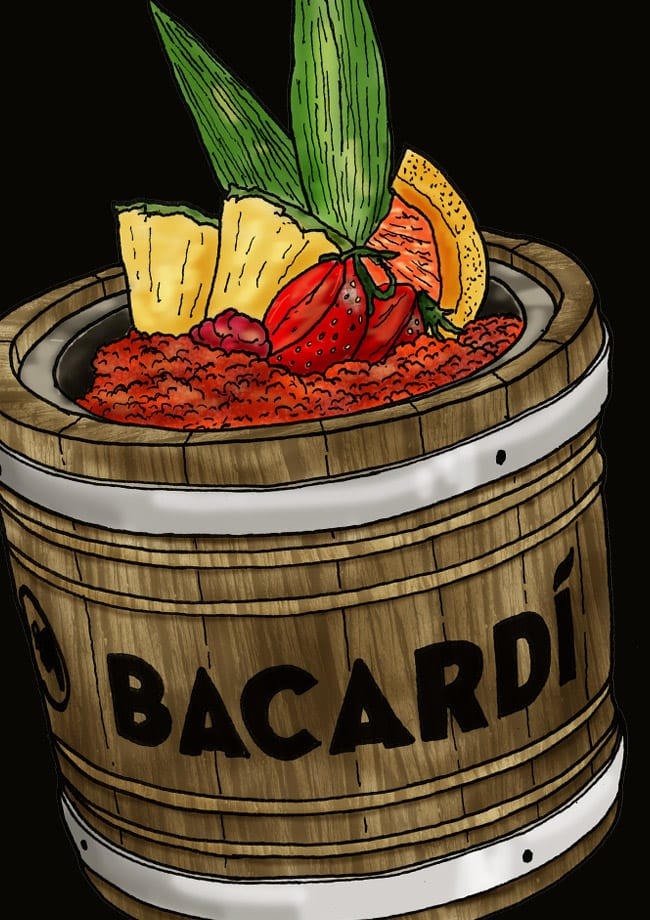 illustration bacardi cocktail design
