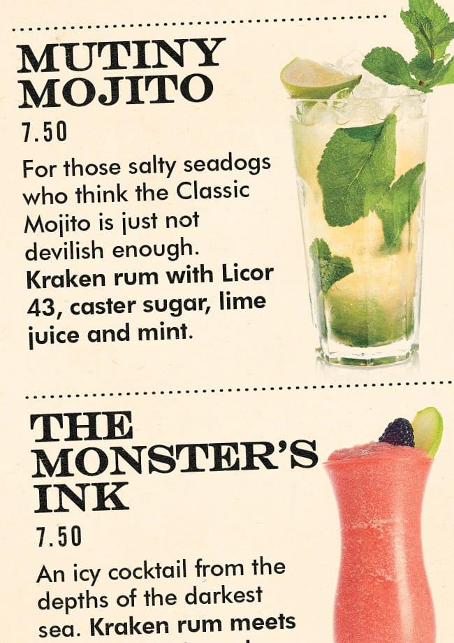 kraken halloween menu