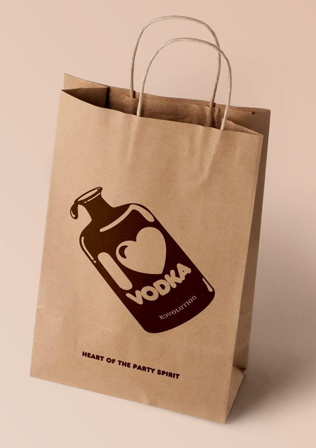 love vodka brown bag