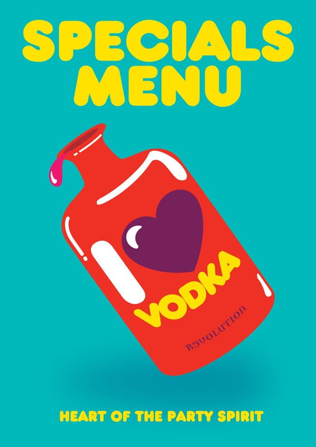 love vodka menu cover blue