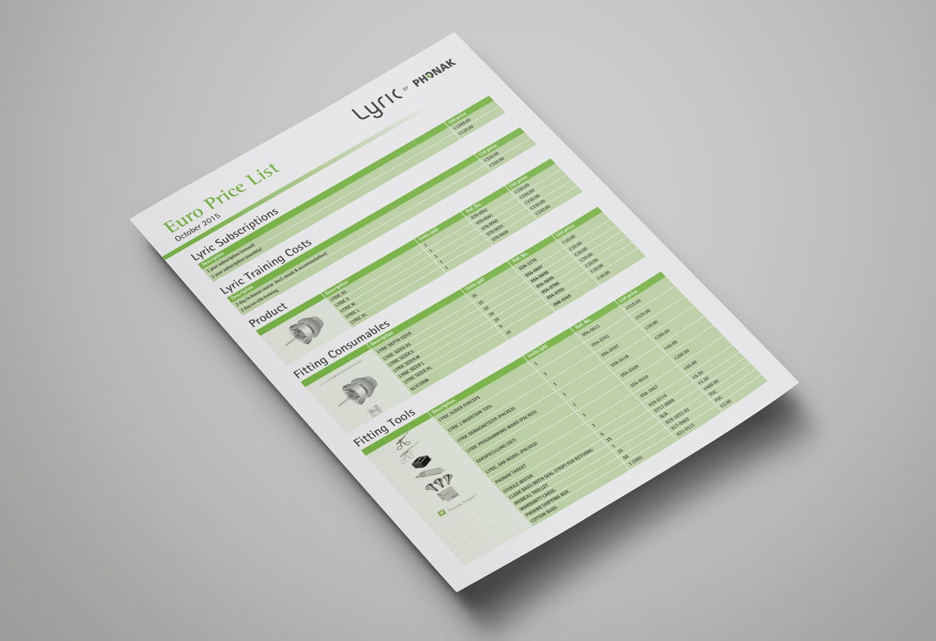 phonak price list designs