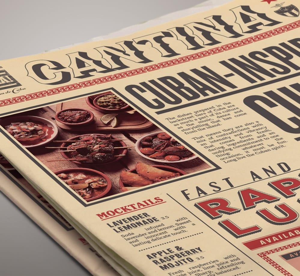 rev de cuba menu newspaper