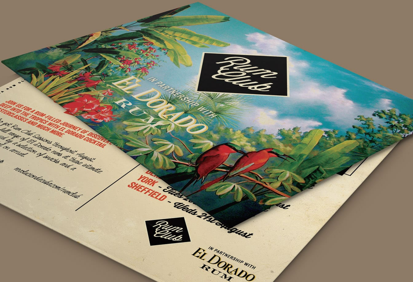 rum club postcard design