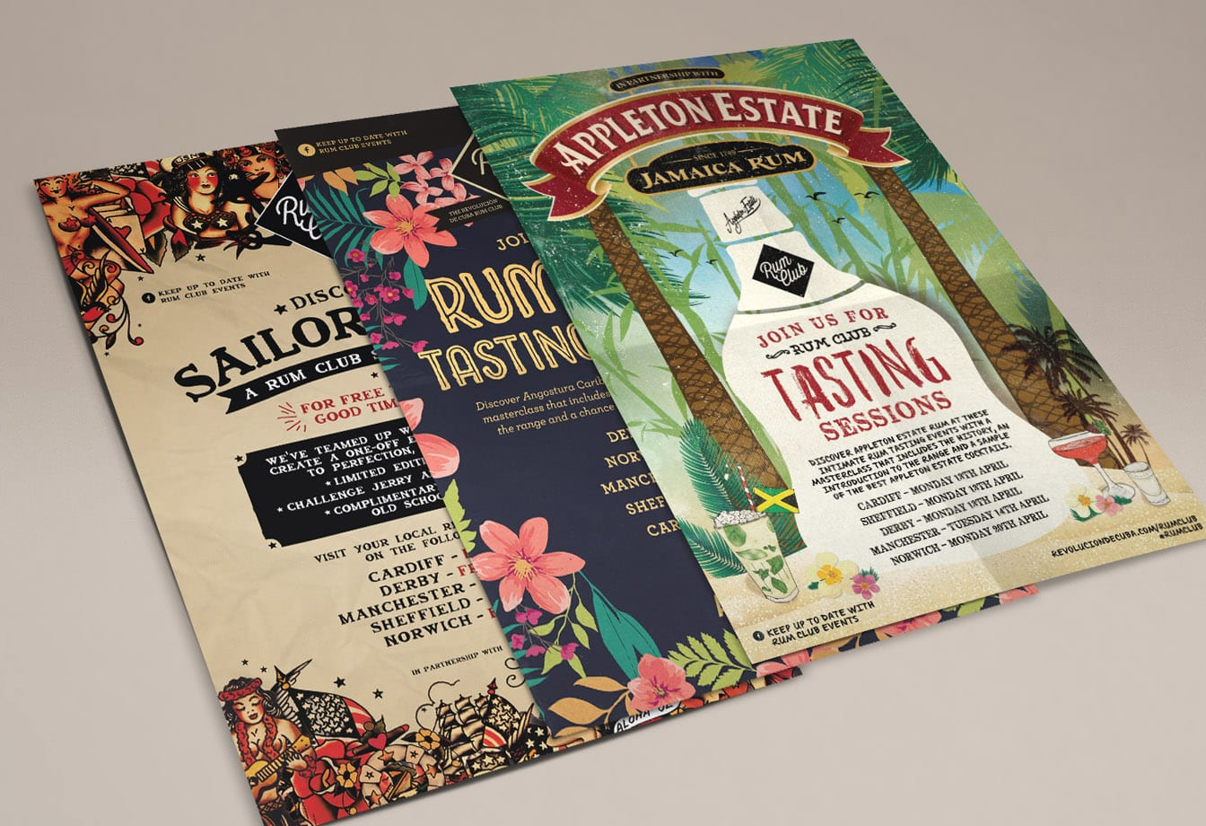 rum club poster designs set