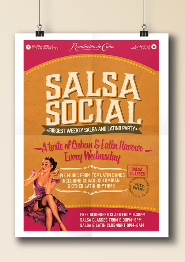 salsa social poster on clips