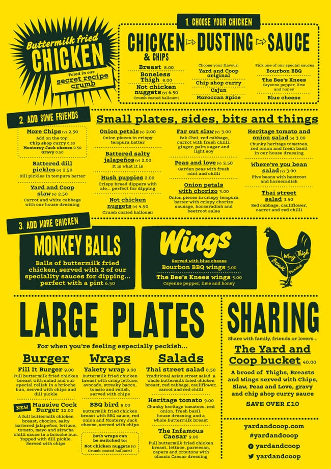 yard and coop food menu